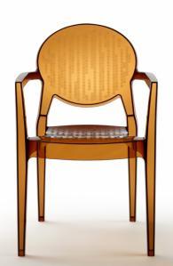 Прозрачен дизайнерски стол кехлибарен